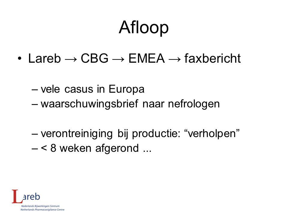 """Afloop Lareb → CBG → EMEA → faxbericht –vele casus in Europa –waarschuwingsbrief naar nefrologen –verontreiniging bij productie: """"verholpen"""" –< 8 weke"""