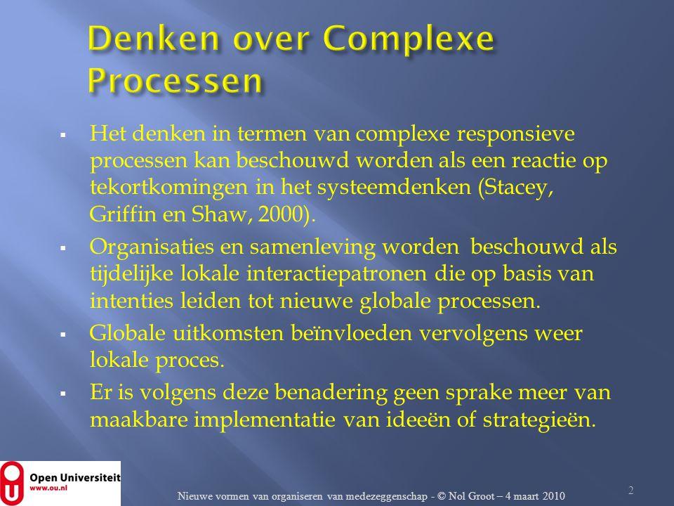  Het denken in termen van complexe responsieve processen kan beschouwd worden als een reactie op tekortkomingen in het systeemdenken (Stacey, Griffin
