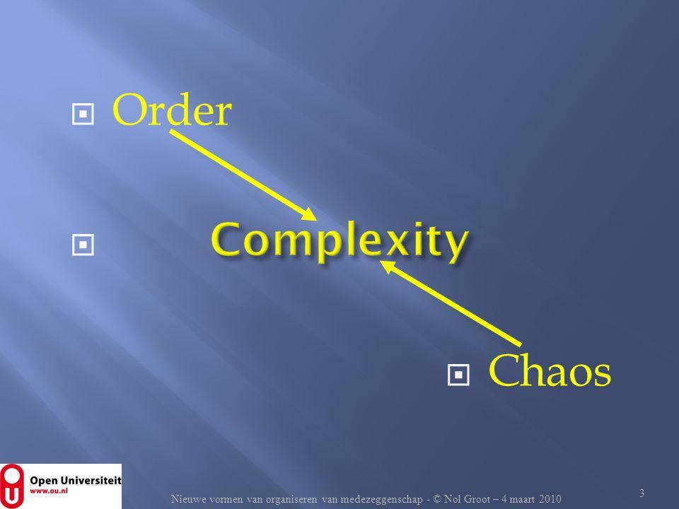  Order   Chaos 3 Nieuwe vormen van organiseren van medezeggenschap - © Nol Groot – 4 maart 2010