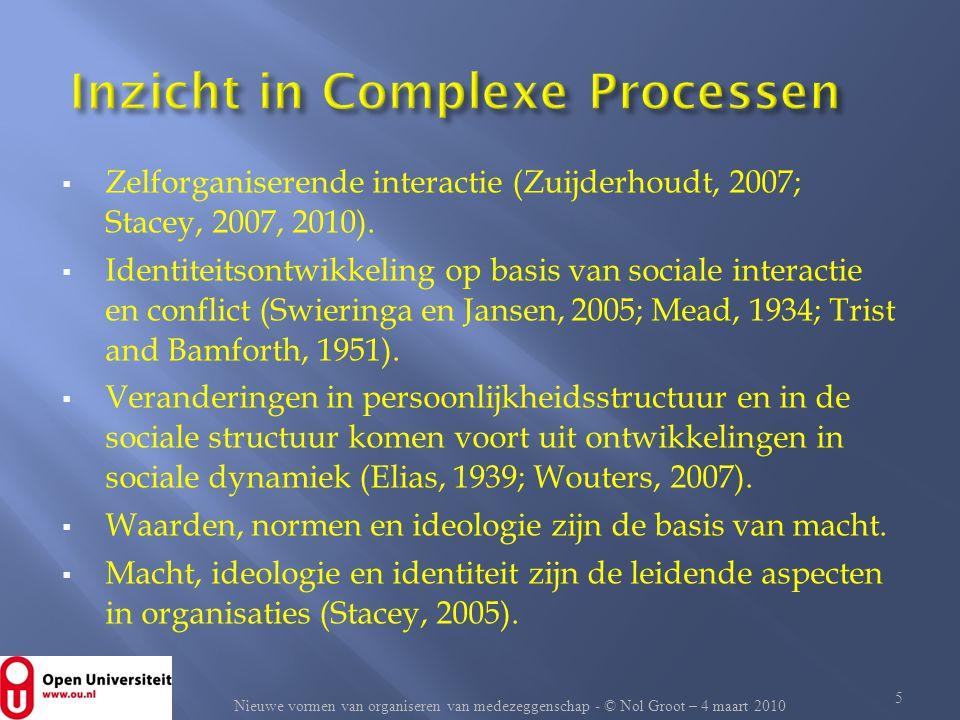  Zelforganiserende interactie (Zuijderhoudt, 2007; Stacey, 2007, 2010).  Identiteitsontwikkeling op basis van sociale interactie en conflict (Swieri