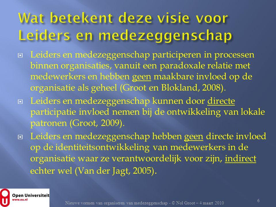  Leiders en medezeggenschap participeren in processen binnen organisaties, vanuit een paradoxale relatie met medewerkers en hebben geen maakbare invl