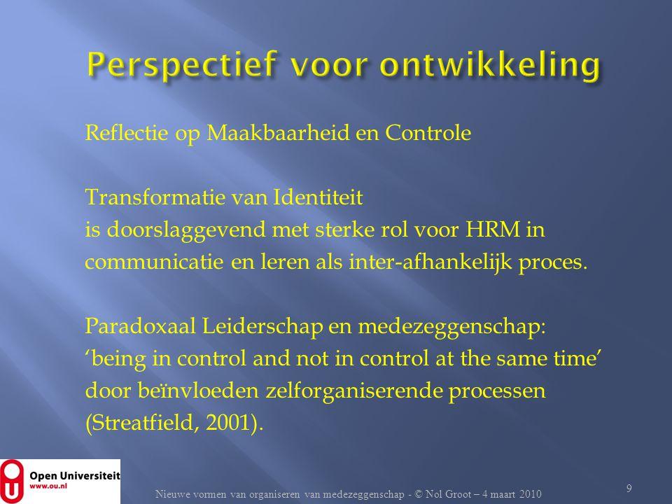 Reflectie op Maakbaarheid en Controle Transformatie van Identiteit is doorslaggevend met sterke rol voor HRM in communicatie en leren als inter-afhank
