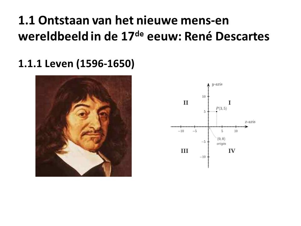 1.1 Ontstaan van het nieuwe mens-en wereldbeeld in de 17 de eeuw: René Descartes 1.1.1 Leven (1596-1650)