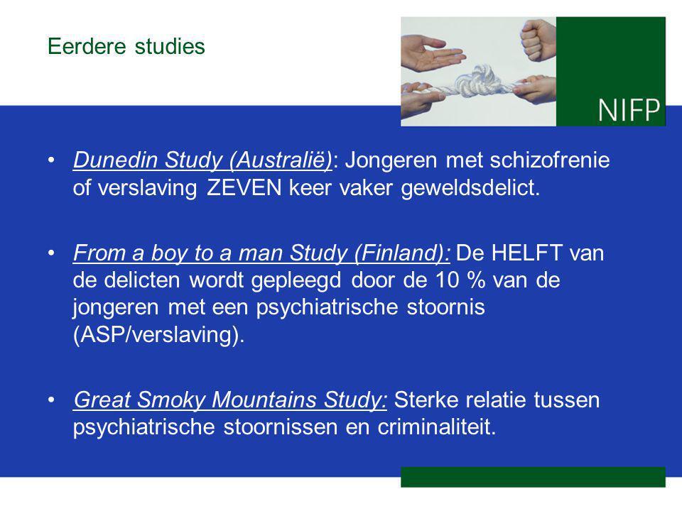 Eerdere studies Dunedin Study (Australië): Jongeren met schizofrenie of verslaving ZEVEN keer vaker geweldsdelict. From a boy to a man Study (Finland)