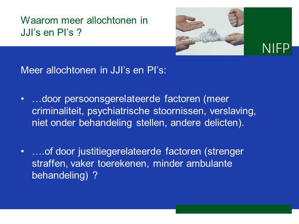 Waarom meer allochtonen in JJI's en PI's ? Meer allochtonen in JJI's en PI's: …door persoonsgerelateerde factoren (meer criminaliteit, psychiatrische