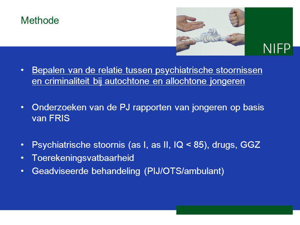 Methode Bepalen van de relatie tussen psychiatrische stoornissen en criminaliteit bij autochtone en allochtone jongeren Onderzoeken van de PJ rapporte