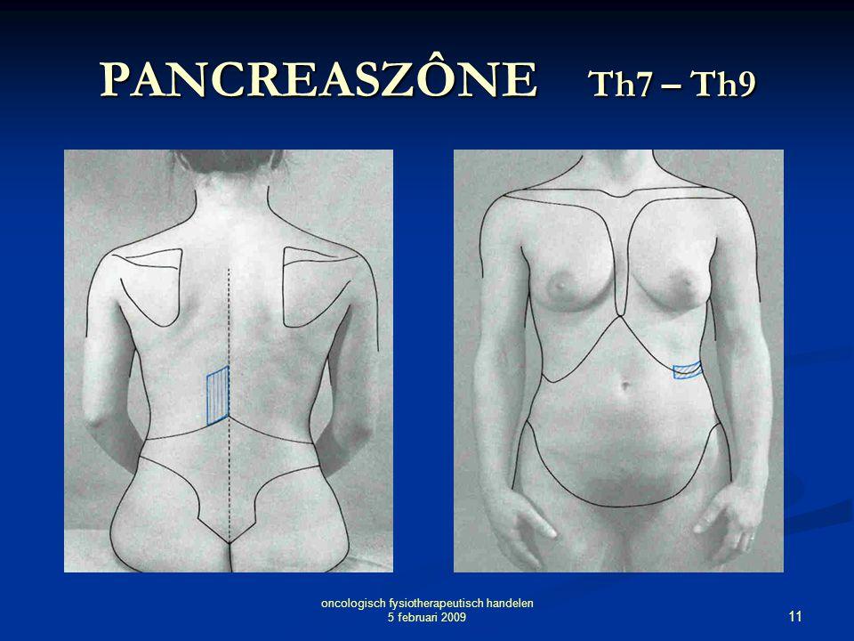11 oncologisch fysiotherapeutisch handelen 5 februari 2009 PANCREASZÔNE Th7 – Th9