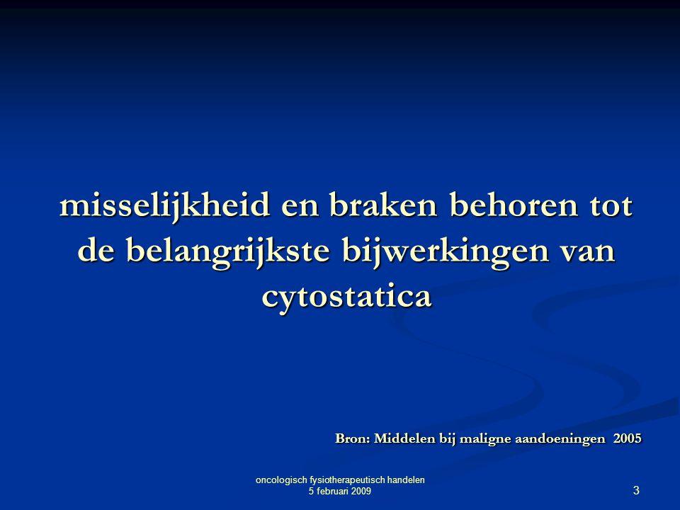 3 oncologisch fysiotherapeutisch handelen 5 februari 2009 misselijkheid en braken behoren tot de belangrijkste bijwerkingen van cytostatica Bron: Midd