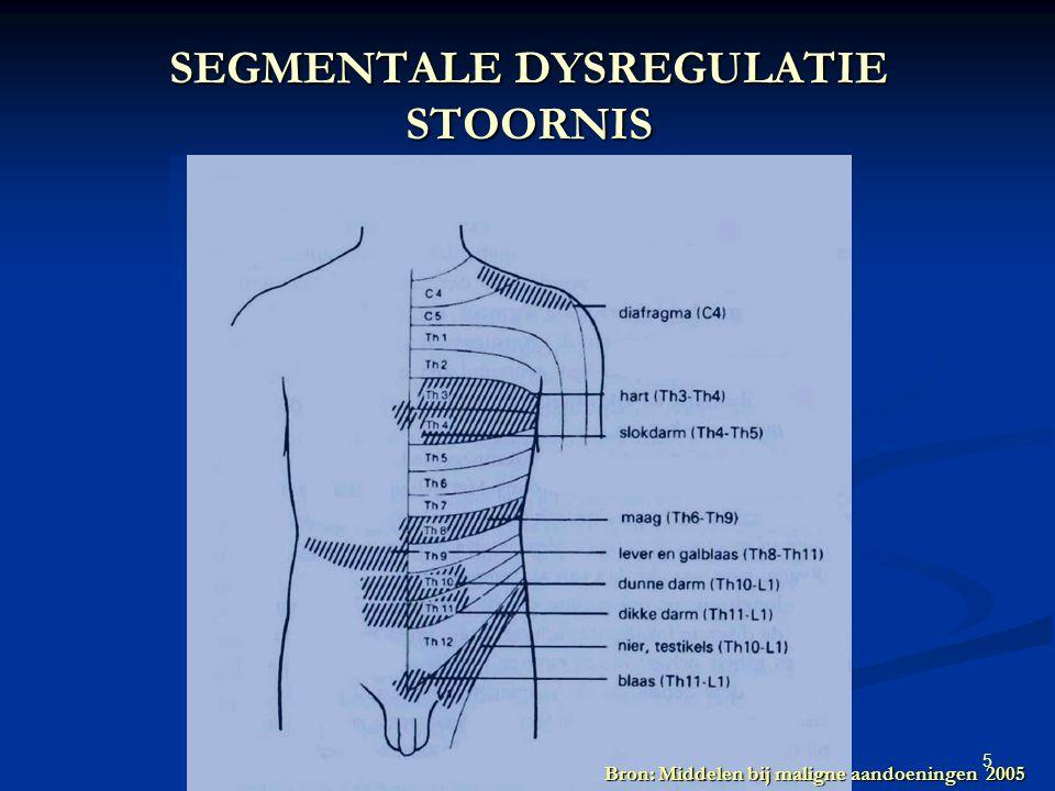 5 oncologisch fysiotherapeutisch handelen 5 februari 2009 SEGMENTALE DYSREGULATIE STOORNIS Bron: Middelen bij maligne aandoeningen 2005