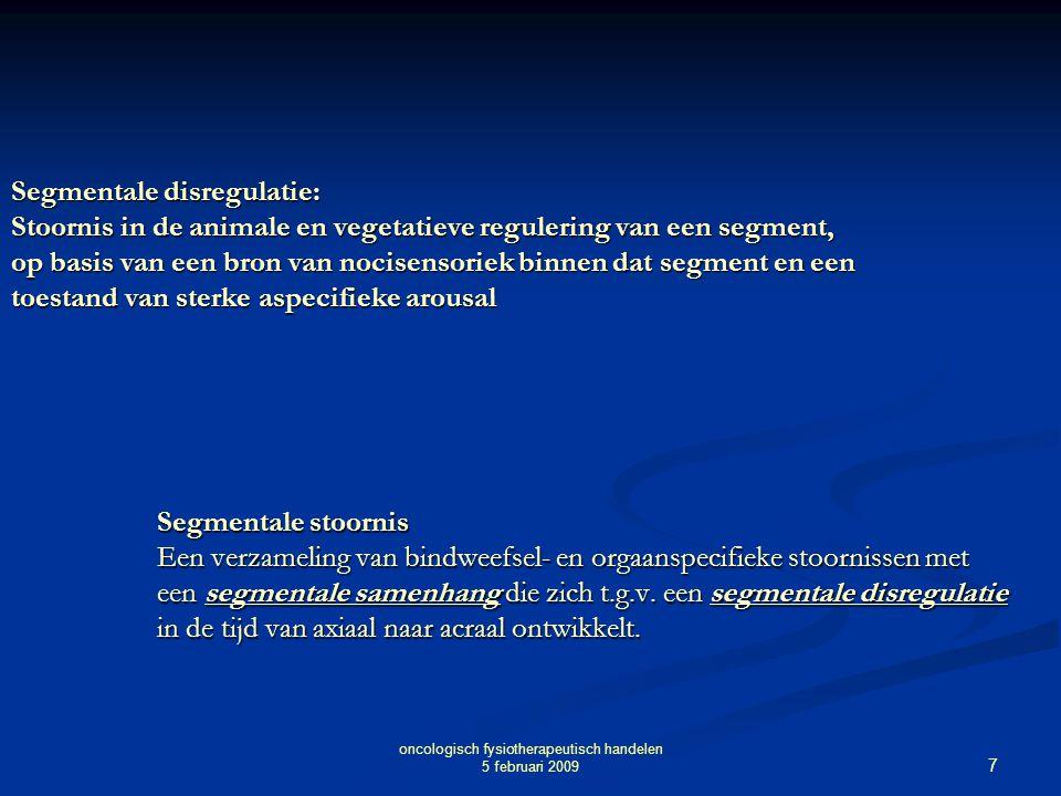 7 Segmentale disregulatie: Stoornis in de animale en vegetatieve regulering van een segment, op basis van een bron van nocisensoriek binnen dat segmen