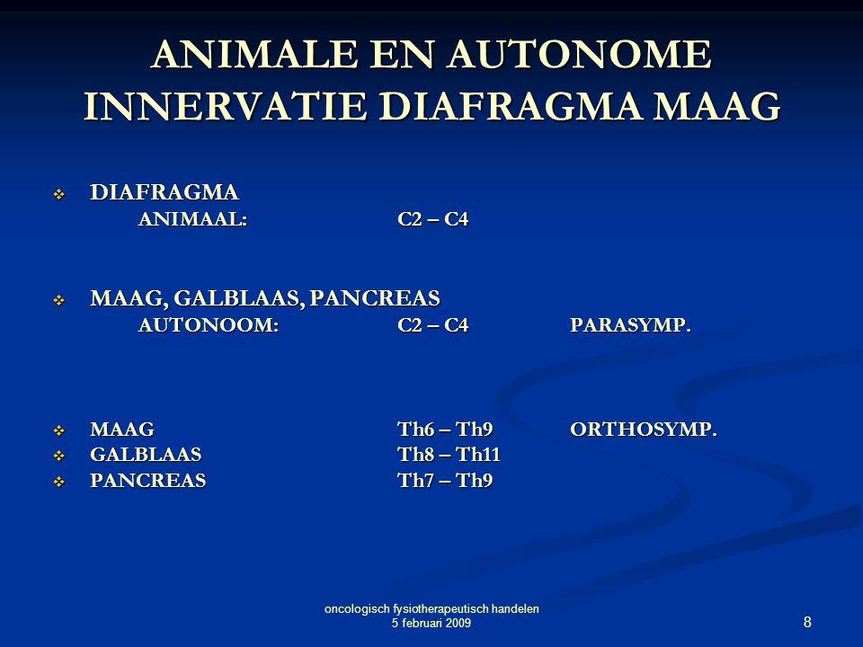 8 oncologisch fysiotherapeutisch handelen 5 februari 2009 ANIMALE EN AUTONOME INNERVATIE DIAFRAGMA MAAG  DIAFRAGMA ANIMAAL:C2 – C4  MAAG, GALBLAAS,