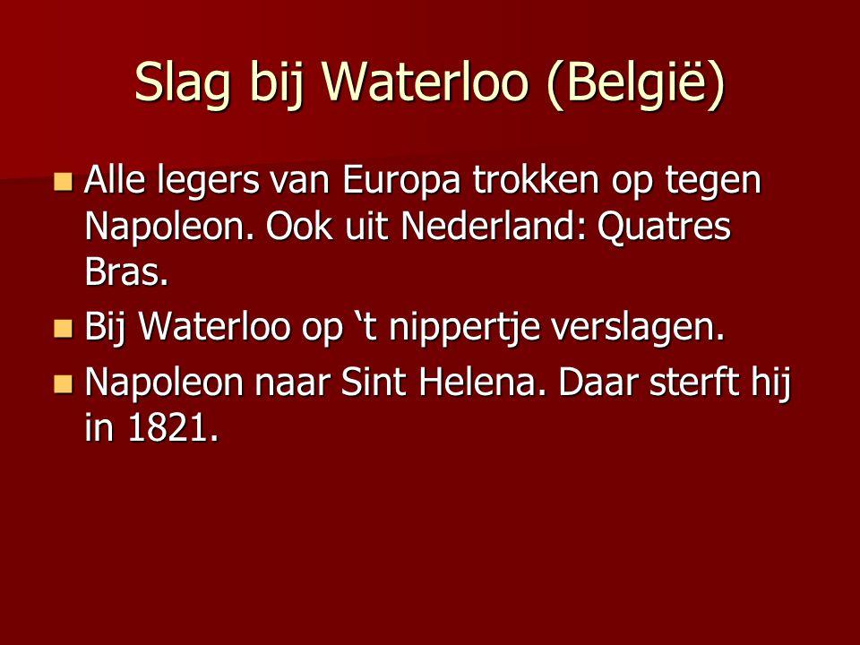 Slag bij Waterloo (België) Alle legers van Europa trokken op tegen Napoleon. Ook uit Nederland: Quatres Bras. Alle legers van Europa trokken op tegen