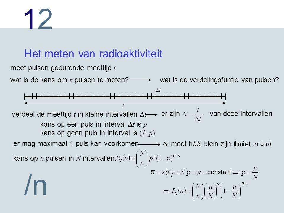 1212 /n Het meten van radioaktiviteit meet pulsen gedurende meettijd t wat is de kans om n pulsen te meten?wat is de verdelingsfuntie van pulsen.