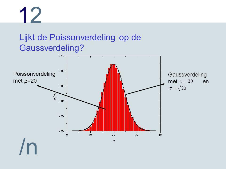 1212 /n Lijkt de Poissonverdeling op de Gaussverdeling.