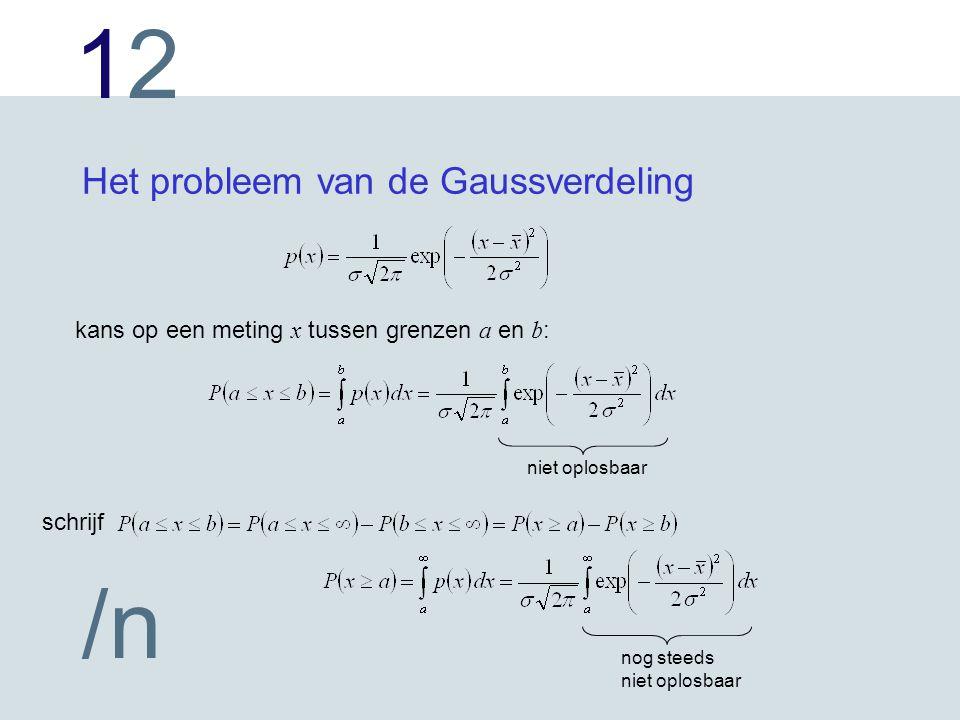1212 /n Het probleem van de Gaussverdeling kans op een meting x tussen grenzen a en b : niet oplosbaar schrijf nog steeds niet oplosbaar