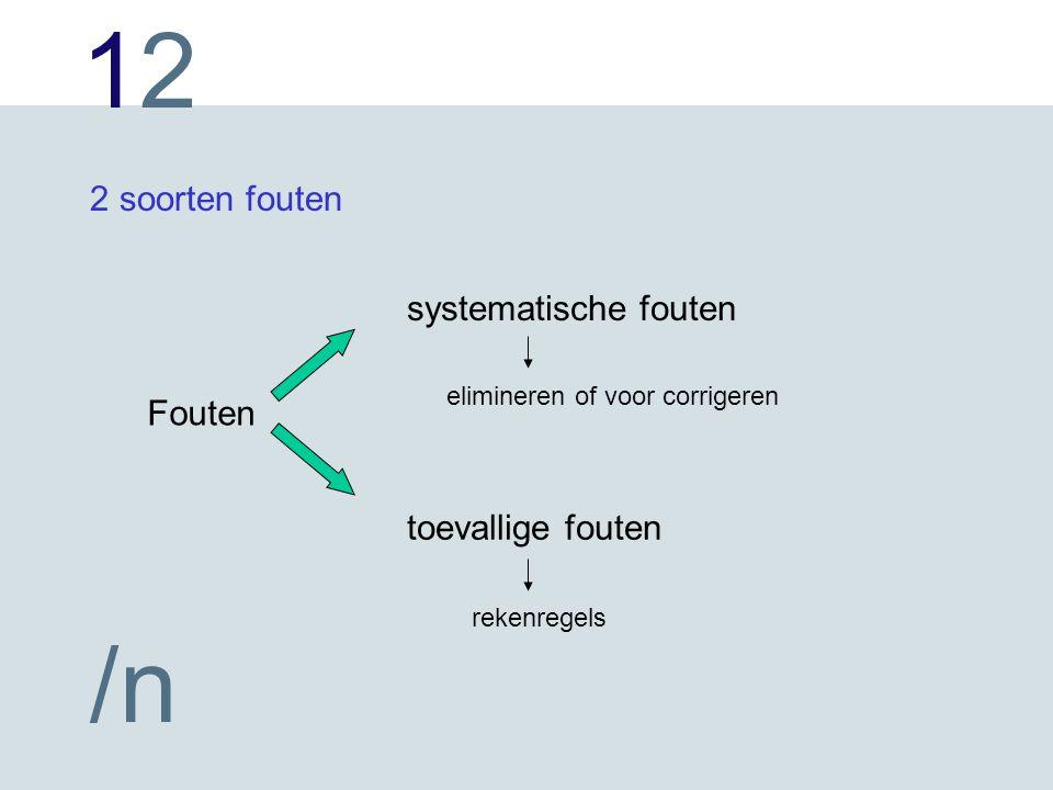 1212 /n 2 soorten fouten Fouten systematische fouten toevallige fouten elimineren of voor corrigeren rekenregels