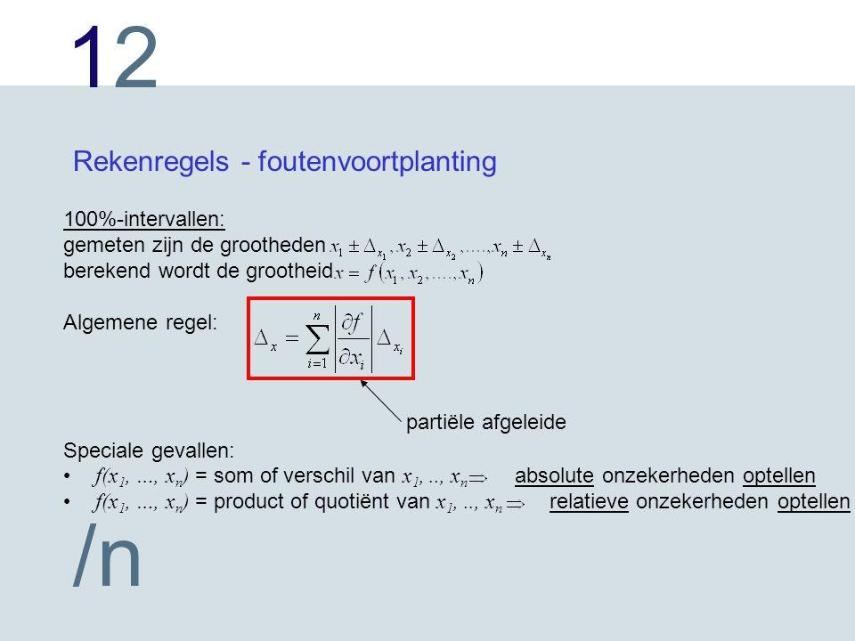 1212 /n Rekenregels - foutenvoortplanting 100%-intervallen: gemeten zijn de grootheden berekend wordt de grootheid Algemene regel: Speciale gevallen: f(x 1, …, x n ) = som of verschil van x 1,.., x n absolute onzekerheden optellen f(x 1, …, x n ) = product of quotiënt van x 1,.., x n relatieve onzekerheden optellen partiële afgeleide