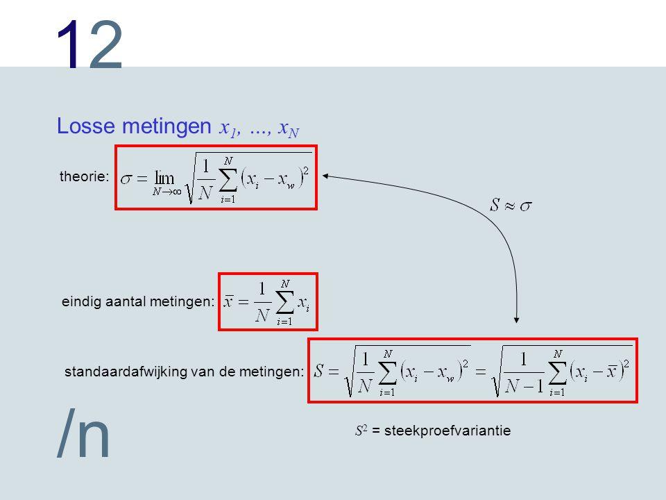 1212 /n Losse metingen x 1, …, x N theorie: eindig aantal metingen: standaardafwijking van de metingen: S 2 = steekproefvariantie