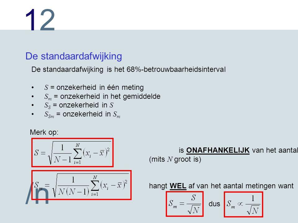 1212 /n De standaardafwijking De standaardafwijking is het 68%-betrouwbaarheidsinterval S = onzekerheid in één meting S m = onzekerheid in het gemiddelde S S = onzekerheid in S S Sm = onzekerheid in S m Merk op: is ONAFHANKELIJK van het aantal metingen N (mits N groot is) hangt WEL af van het aantal metingen want dus