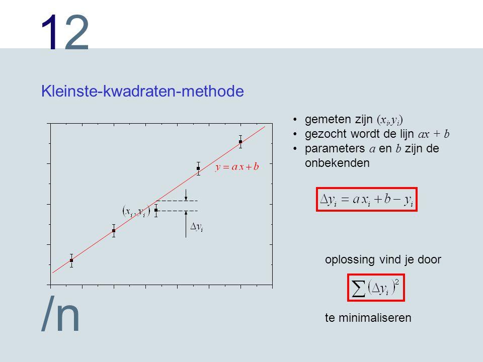 1212 /n Kleinste-kwadraten-methode gemeten zijn (x i,y i ) gezocht wordt de lijn ax + b parameters a en b zijn de onbekenden oplossing vind je door te minimaliseren