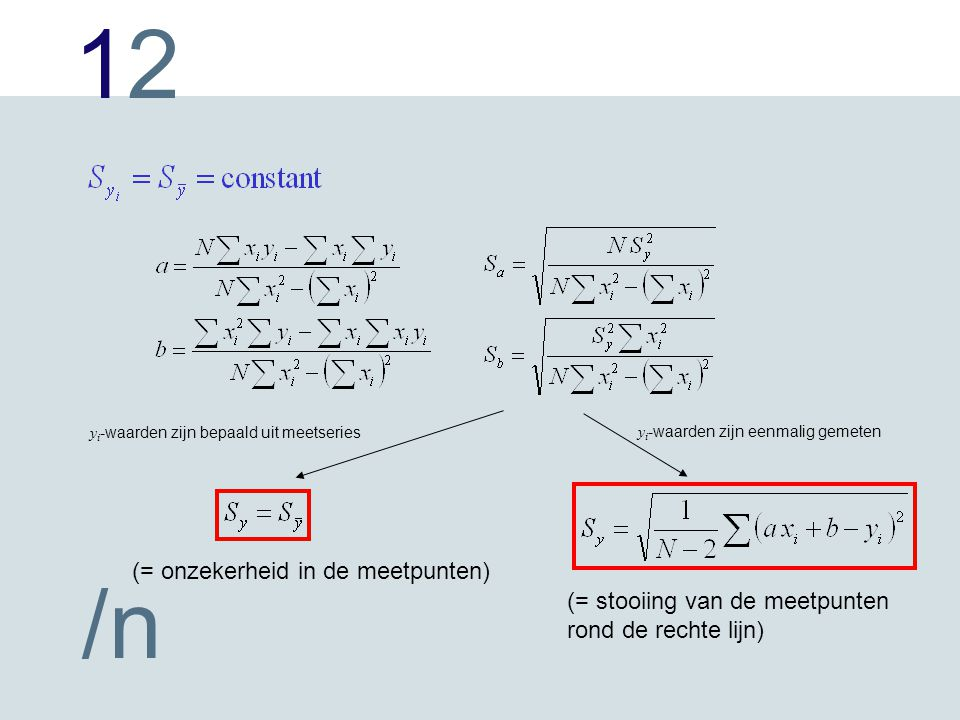 1212 /n y i -waarden zijn bepaald uit meetseries y i -waarden zijn eenmalig gemeten (= onzekerheid in de meetpunten) (= stooiing van de meetpunten rond de rechte lijn)