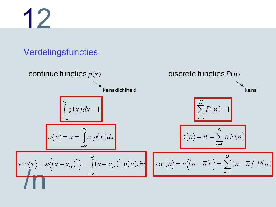 1212 /n Verdelingsfuncties continue functies p(x) discrete functies P(n) kansdichtheidkans