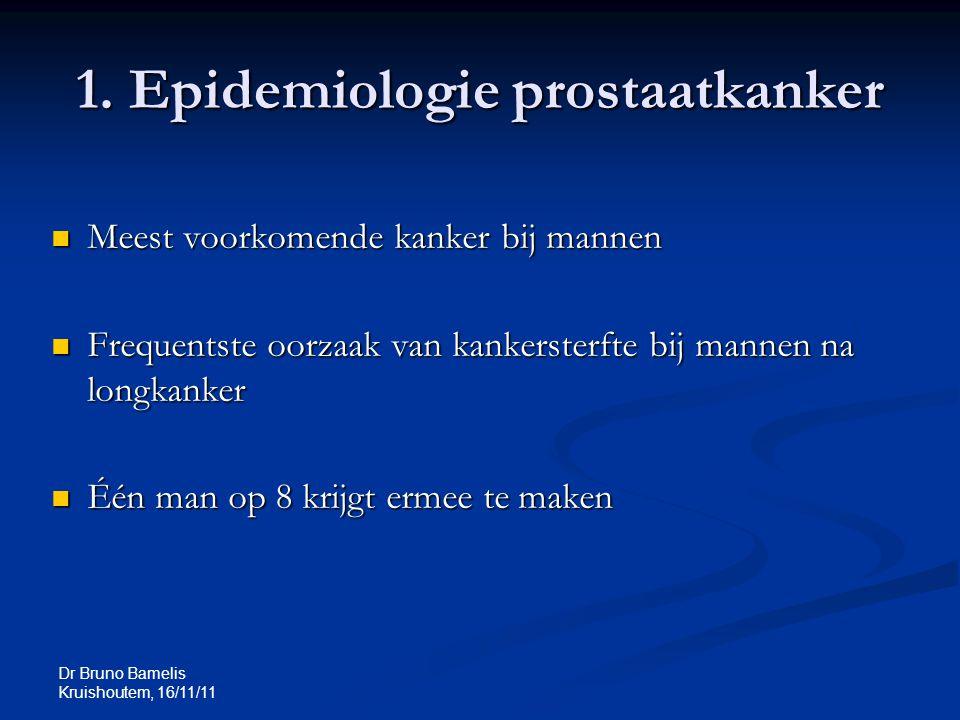 Dr Bruno Bamelis Kruishoutem, 16/11/11 1. Epidemiologie prostaatkanker Meest voorkomende kanker bij mannen Meest voorkomende kanker bij mannen Frequen