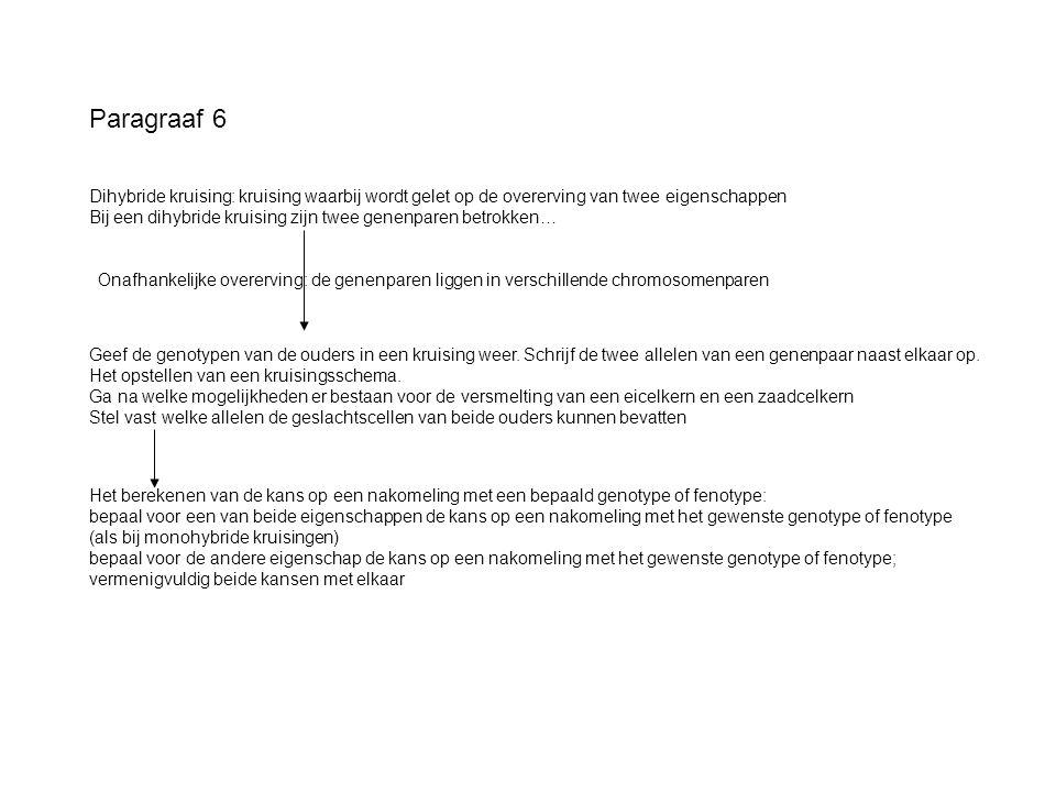 Paragraaf 6 Dihybride kruising: kruising waarbij wordt gelet op de overerving van twee eigenschappen Bij een dihybride kruising zijn twee genenparen b