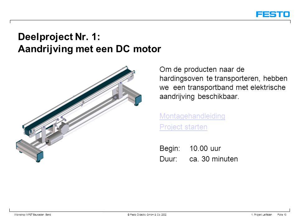 1. Projekt Leitfaden Folie 13 Workshop MPS ® Baukasten Band © Festo Didactic GmbH & Co. 2002 Deelproject Nr. 1: Aandrijving met een DC motor Om de pro