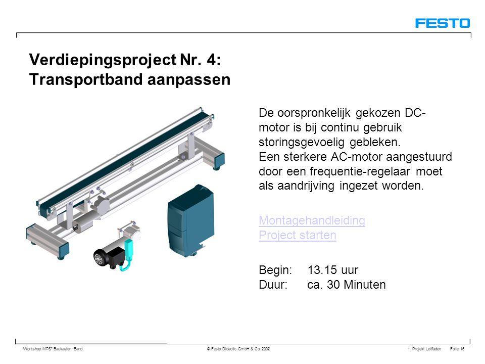 1. Projekt Leitfaden Folie 16 Workshop MPS ® Baukasten Band © Festo Didactic GmbH & Co. 2002 Verdiepingsproject Nr. 4: Transportband aanpassen De oors