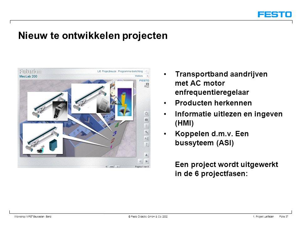 1. Projekt Leitfaden Folie 37 Workshop MPS ® Baukasten Band © Festo Didactic GmbH & Co. 2002 Nieuw te ontwikkelen projecten Transportband aandrijven m