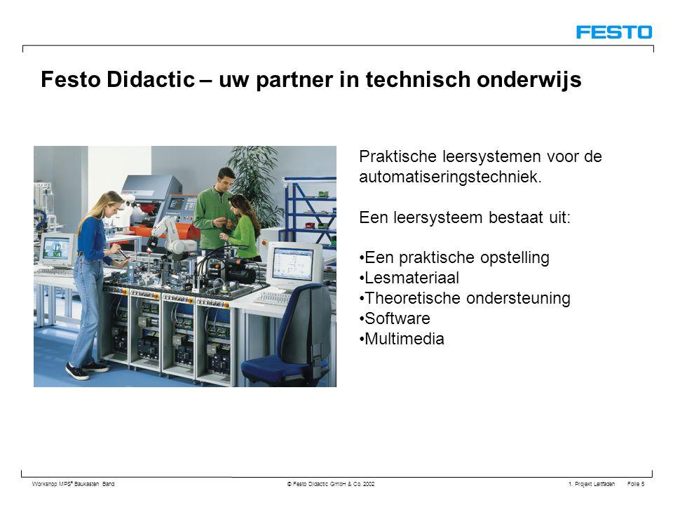 1. Projekt Leitfaden Folie 5 Workshop MPS ® Baukasten Band © Festo Didactic GmbH & Co. 2002 Festo Didactic – uw partner in technisch onderwijs Praktis