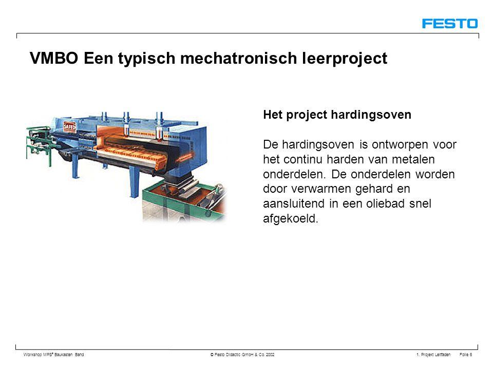 1. Projekt Leitfaden Folie 6 Workshop MPS ® Baukasten Band © Festo Didactic GmbH & Co. 2002 VMBO Een typisch mechatronisch leerproject Het project har