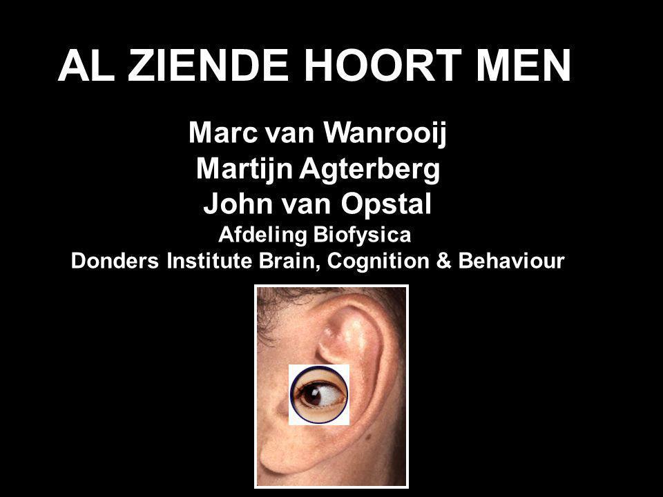 AL ZIENDE HOORT MEN Marc van Wanrooij Martijn Agterberg John van Opstal Afdeling Biofysica Donders Institute Brain, Cognition & Behaviour 0