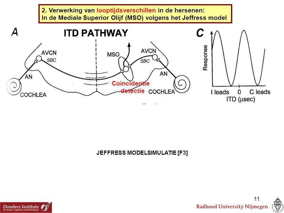 2. Verwerking van looptijdsverschillen in de hersenen: In de Mediale Superior Olijf (MSO) volgens het Jeffress model Coincidentie detectie JEFFRESS MO