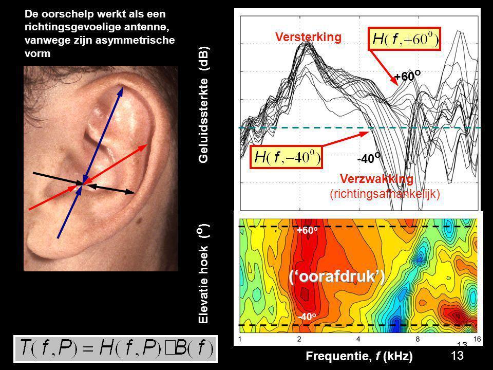 Frequentie, f (kHz) Geluidssterkte (dB) 0 10 -10 Elevatie hoek ( o ) -40 -20 0 +20 +40 +60 ('oorafdruk') Versterking Verzwakking (richtingsafhankelijk
