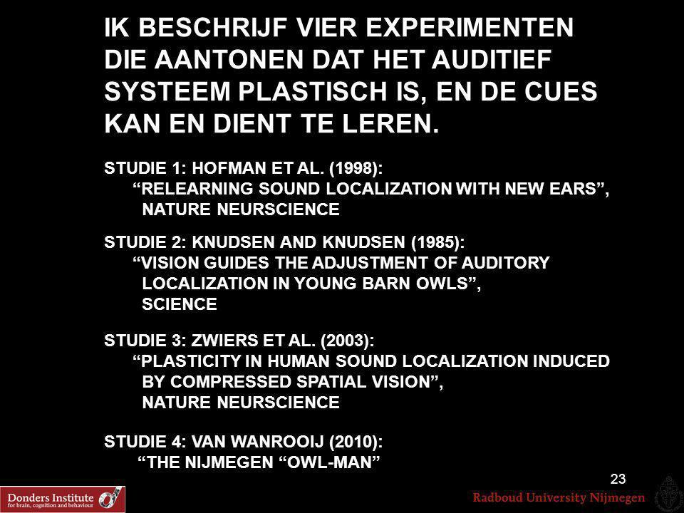 """IK BESCHRIJF VIER EXPERIMENTEN DIE AANTONEN DAT HET AUDITIEF SYSTEEM PLASTISCH IS, EN DE CUES KAN EN DIENT TE LEREN. STUDIE 1: HOFMAN ET AL. (1998): """""""