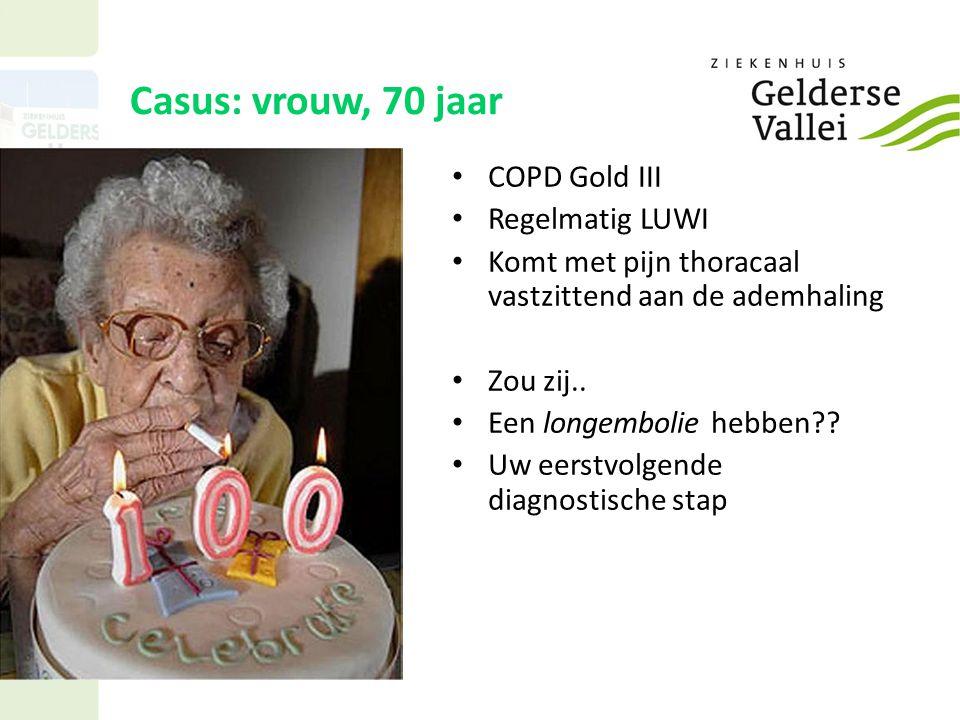 Casus: vrouw, 70 jaar COPD Gold III Regelmatig LUWI Komt met pijn thoracaal vastzittend aan de ademhaling Zou zij..