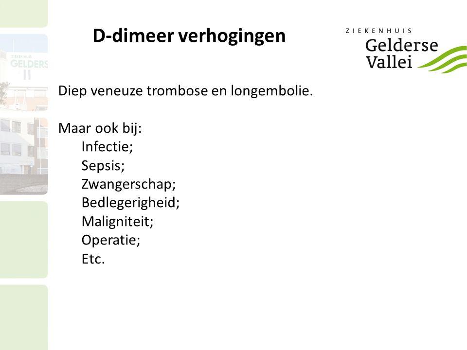 D-dimeer verhogingen Diep veneuze trombose en longembolie.