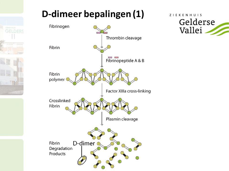 D-dimeer bepalingen (2) De gouden standaard, ELISA: Hoge sensitiviteit (98%); lage specificiteit (<40%).