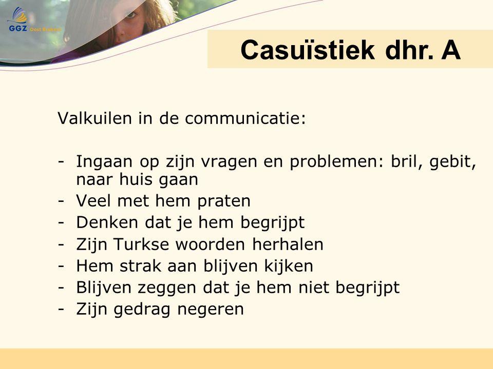 Valkuilen in de communicatie: -Ingaan op zijn vragen en problemen: bril, gebit, naar huis gaan -Veel met hem praten -Denken dat je hem begrijpt -Zijn