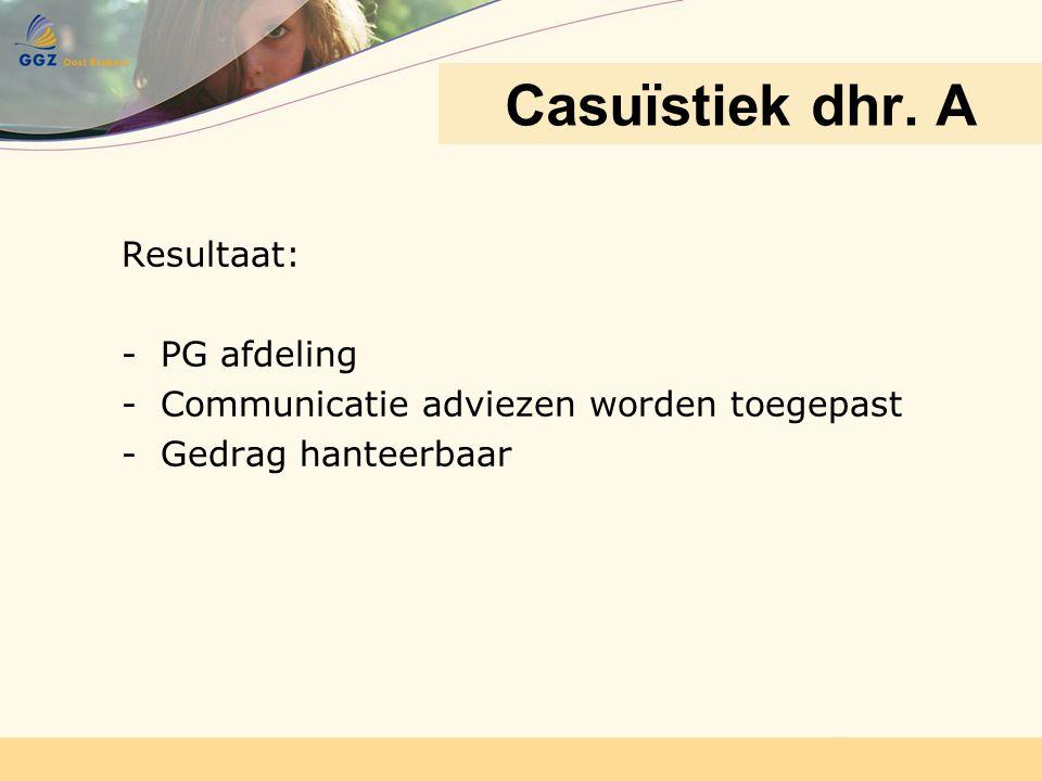 Resultaat: -PG afdeling -Communicatie adviezen worden toegepast -Gedrag hanteerbaar Casuïstiek dhr. A
