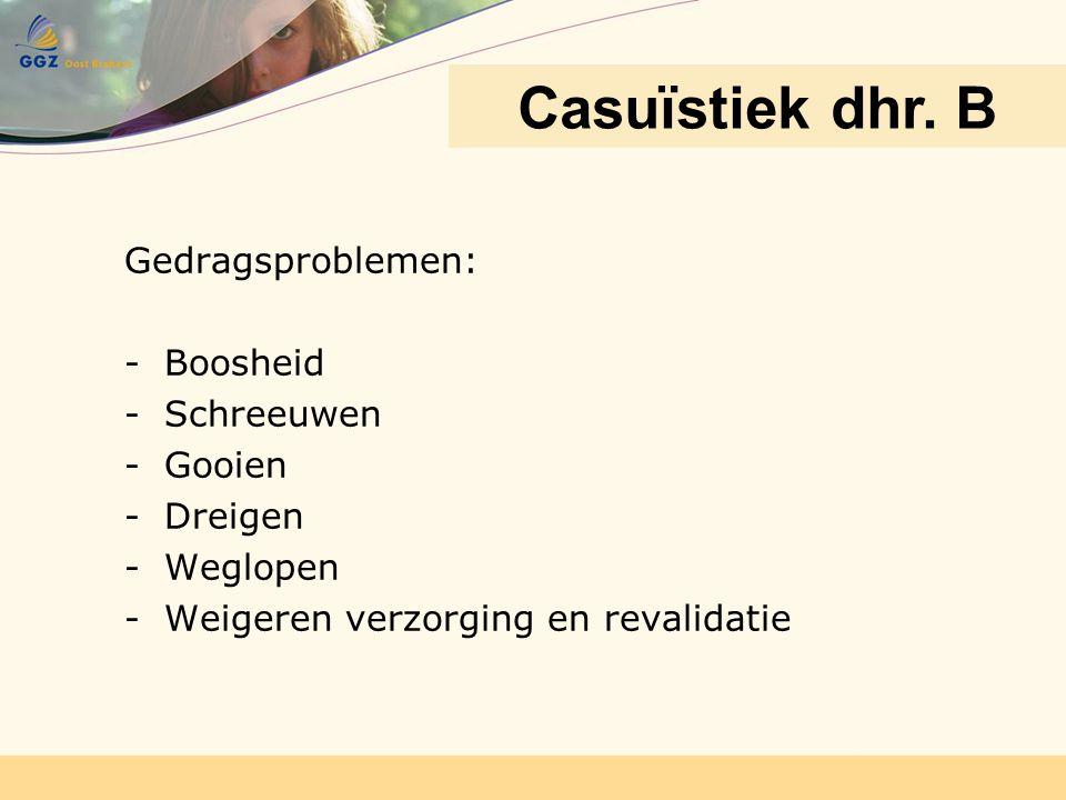 Gedragsproblemen: -Boosheid -Schreeuwen -Gooien -Dreigen -Weglopen -Weigeren verzorging en revalidatie Casuïstiek dhr. B