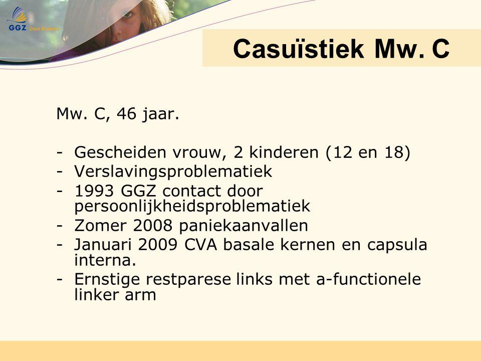Mw. C, 46 jaar. - Gescheiden vrouw, 2 kinderen (12 en 18) -Verslavingsproblematiek -1993 GGZ contact door persoonlijkheidsproblematiek -Zomer 2008 pan
