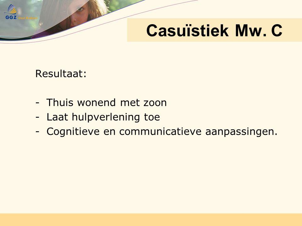 Resultaat: -Thuis wonend met zoon -Laat hulpverlening toe -Cognitieve en communicatieve aanpassingen. Casuïstiek Mw. C