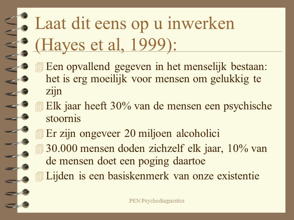 PEN Psychodiagnostics Laat dit eens op u inwerken (Hayes et al, 1999): 4 Een opvallend gegeven in het menselijk bestaan: het is erg moeilijk voor mens
