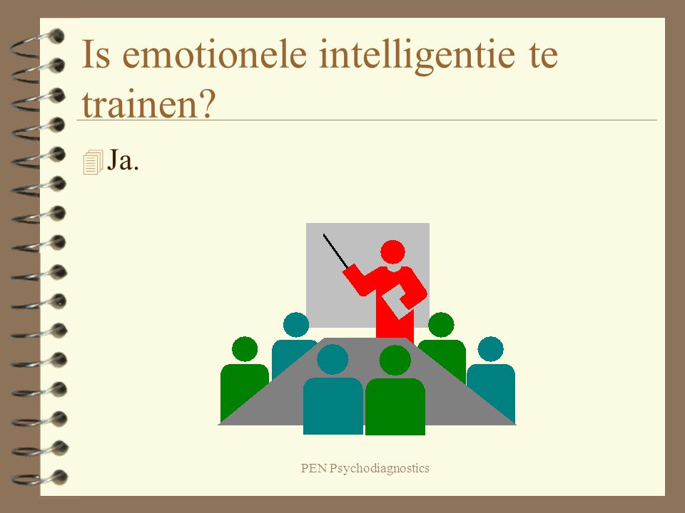 PEN Psychodiagnostics Is emotionele intelligentie te trainen? 4 Ja.