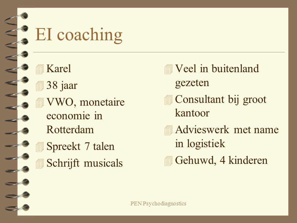 PEN Psychodiagnostics EI coaching 4 Karel 4 38 jaar 4 VWO, monetaire economie in Rotterdam 4 Spreekt 7 talen 4 Schrijft musicals 4 Veel in buitenland