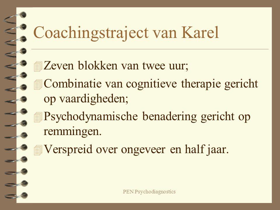 PEN Psychodiagnostics Coachingstraject van Karel 4 Zeven blokken van twee uur; 4 Combinatie van cognitieve therapie gericht op vaardigheden; 4 Psychod