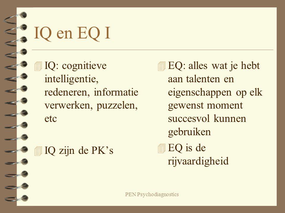 PEN Psychodiagnostics IQ en EQ I 4 IQ: cognitieve intelligentie, redeneren, informatie verwerken, puzzelen, etc 4 IQ zijn de PK's 4 EQ: alles wat je h